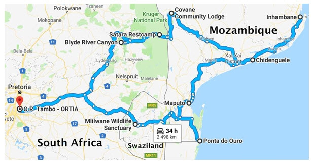 Route Zuid-Afrika-Mozambique